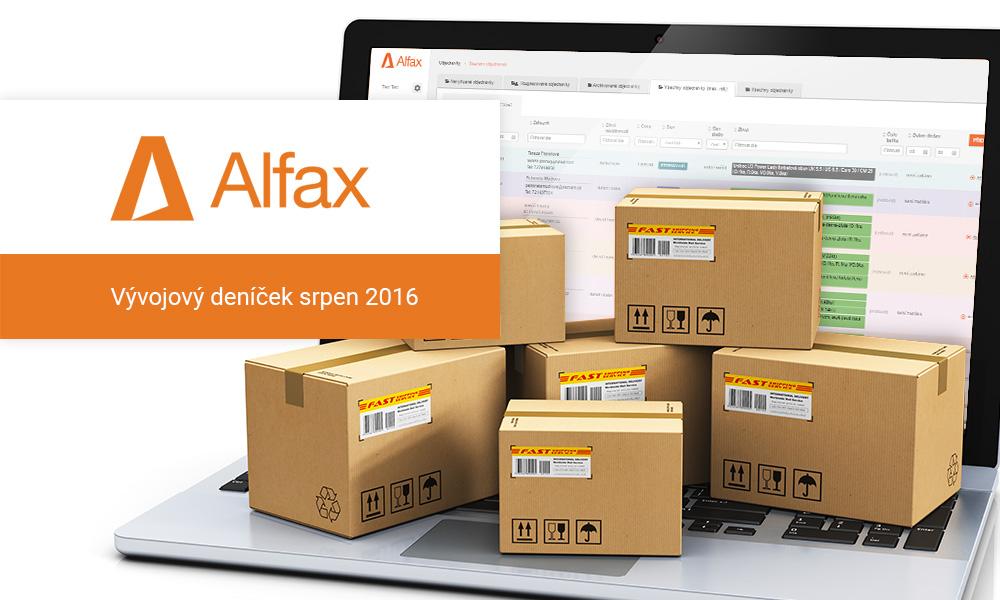 Vývojový deníček Alfax – srpen 2016
